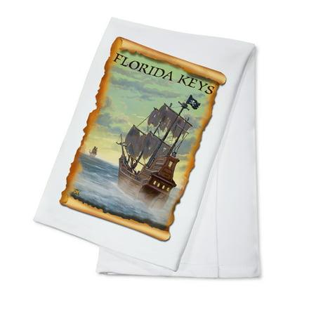 Florida Keys, Florida - Pirate Ship - Lantern Press Poster (100% Cotton Kitchen Towel)