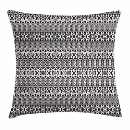 Black and White Throw Pillow Cushion Cover, Folk and National Art Design Mexican Mayan Culture Pattern with Triangles, Decorative Square Accent Pillow Case, 18 X 18 Inches, Black White, by Ambesonne