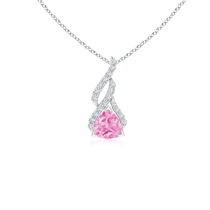 2 ct Pink Sapphie Trillion Solitaire Pendant Necklace in Solid Sterling Silver