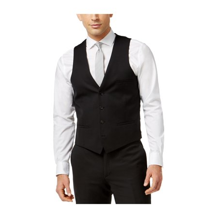 bar III Mens Pinpoint Dress Four Button Vest black 40 - image 1 of 1