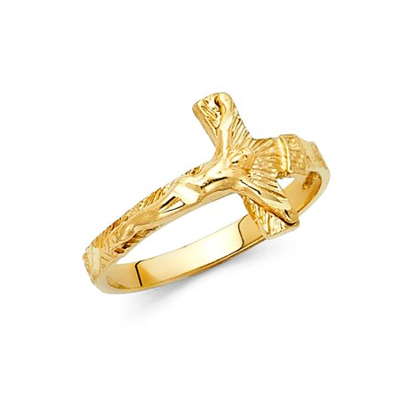 Cross Solid 14k Gold Ring - Cross Religious Crucifix Jesus Christ Band 13mm 14k Solid Yellow Italian Gold Ring Size 5 Available All Sizes