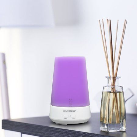 Comforday 100ml Ultrasonic Humidifier/Essential Oil Diffuser/Aroma Diffuser with 7-Color LED Night Lamp