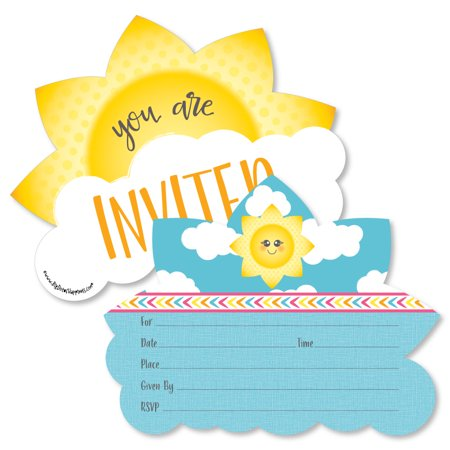 You Are My Sunshine - Shaped Fill-In Invitations - Baby Shower or Birthday Party Invitation - 12 -