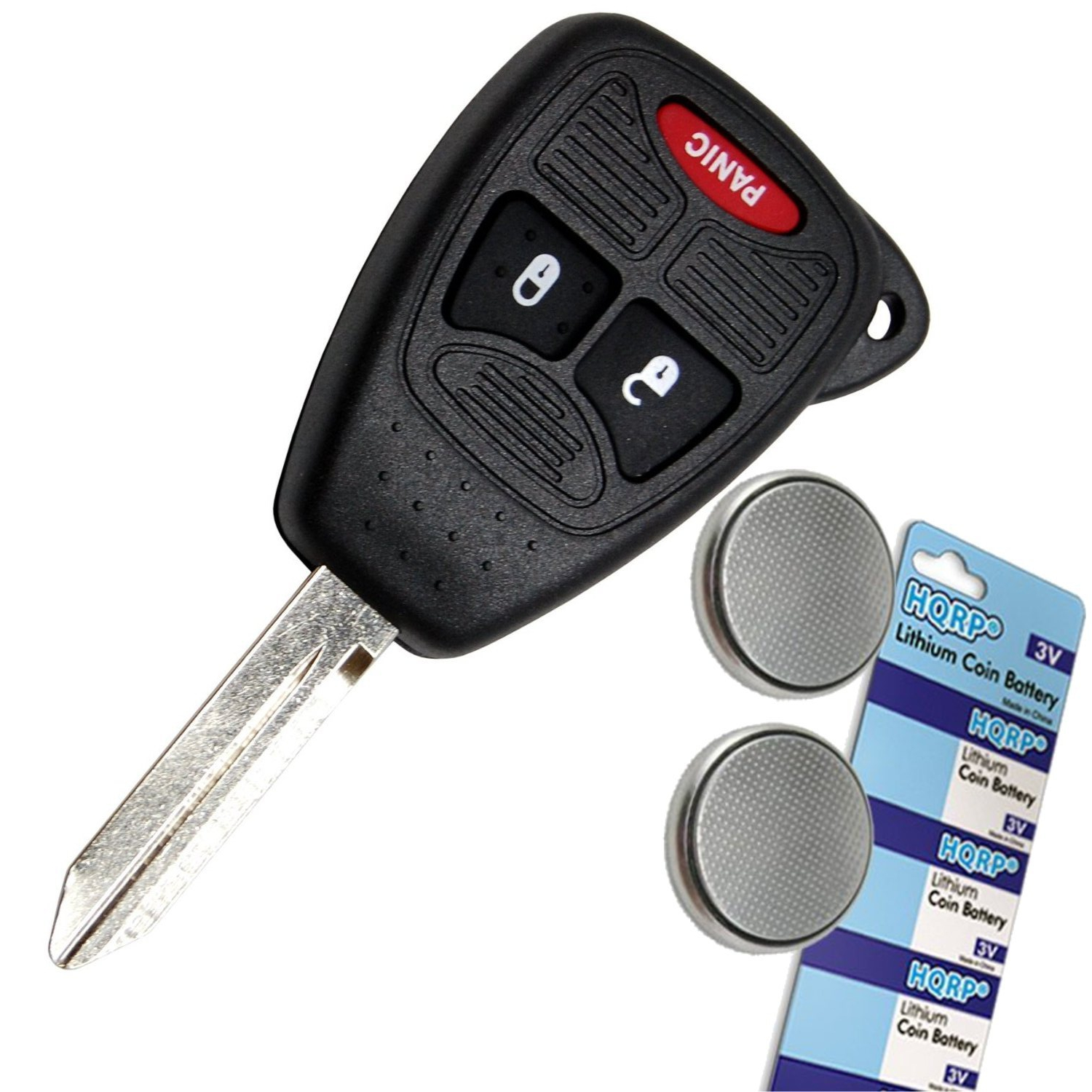 HQRP Transmitter and Two Batteries for Dodge Ram 3500 / 2500/ 1500 / 2007 2006 2005 2008 07 06 05 08 Key-Fob Remote Shell Case Cover Smart Key Keyless FOB + HQRP Coaster