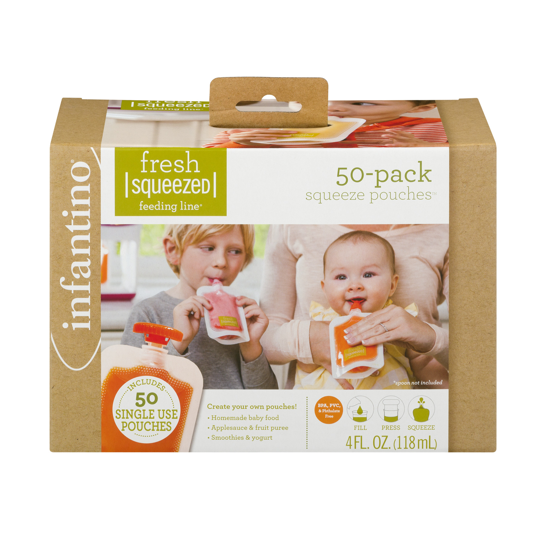 Infantino Fresh Squeezed Food Pouches, 4 oz, 50 pack