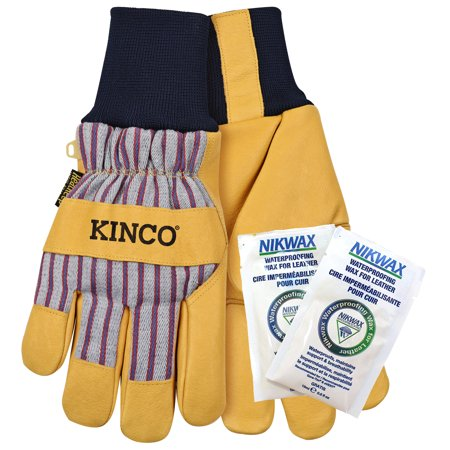 Kinco 1927KW-L Men's Lined Grain Pigskin Leather Palm Gloves with Nikwax Waterproofing Knit Wrist (Size: Large) Kinco Insulated Gloves