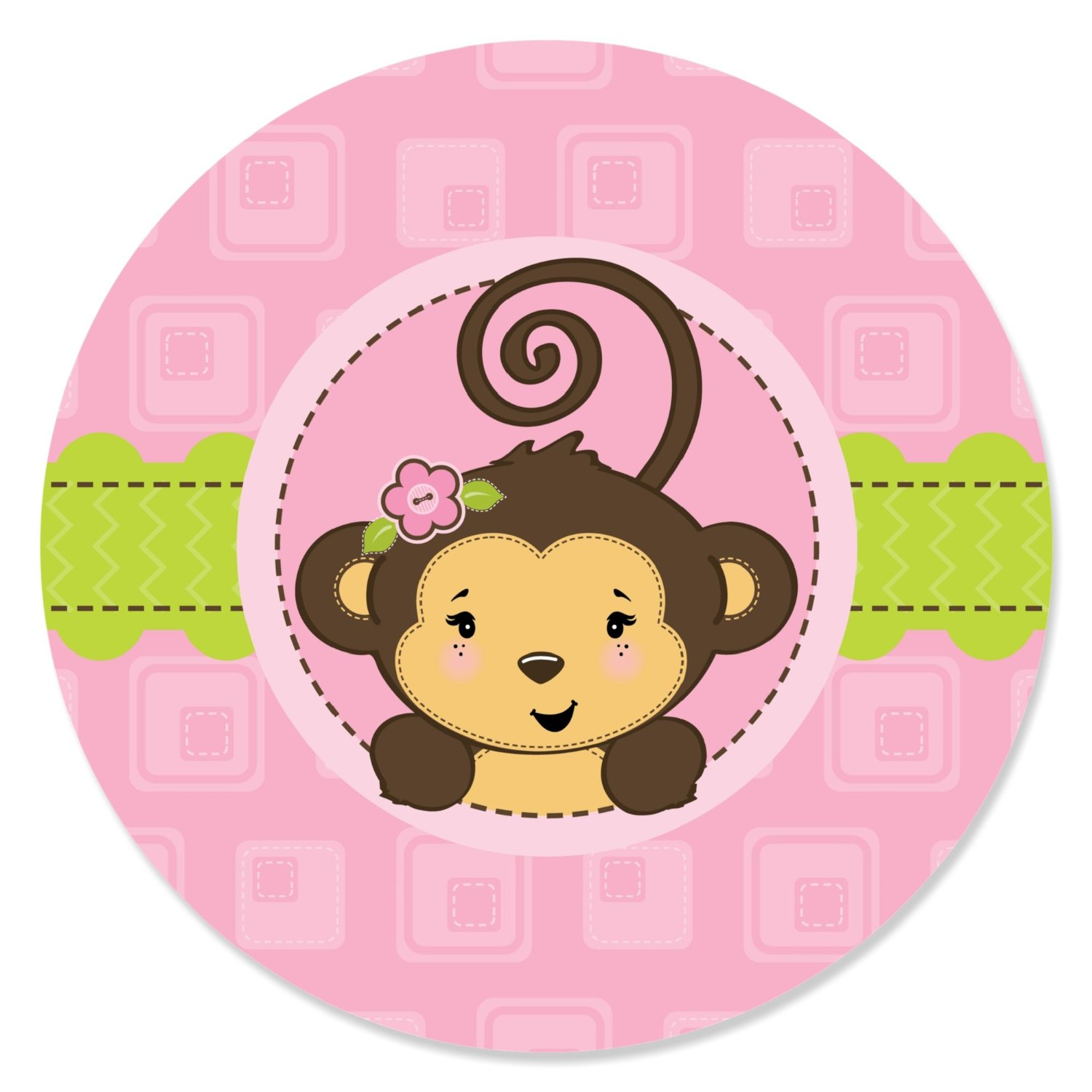 Monkey Girl - Party Circle Sticker Labels - 24 Count