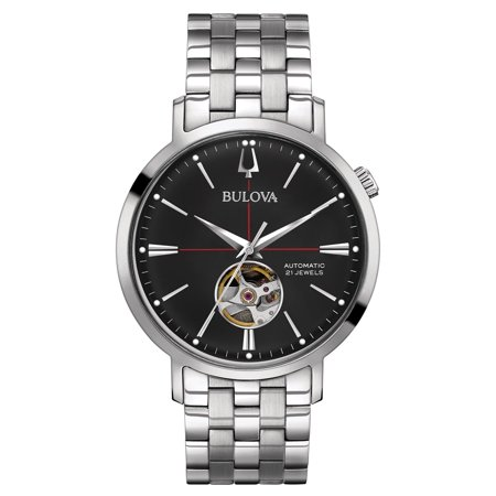 Bulova 96A199 Men's Classic Automatic Black Dial Stainless Steel Bracelet Watch