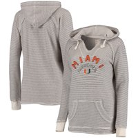 Miami Hurricanes Blue 84 Women's Striped French Terry V-Neck Hoodie - Cream
