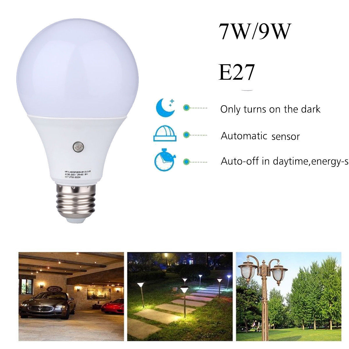 E27 LED Dusk to Dawn Sensor Light Bulbs Built-in Photosensor Detection Auto Switch Light Indoor/Outdoor Lighting Lamp for Porch Hallway Patio Garage