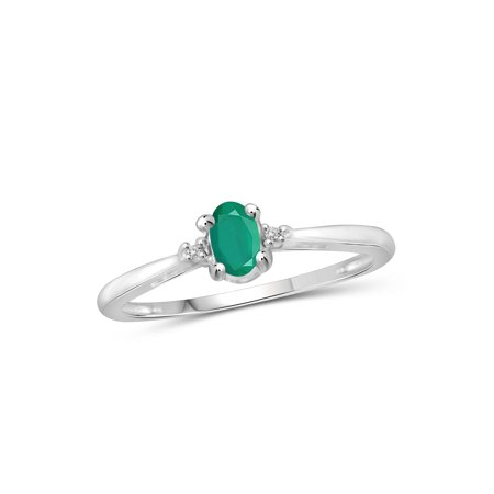 1/4 Carat T.G.W. Emerald And Accent White Diamond Sterling Silver Ring