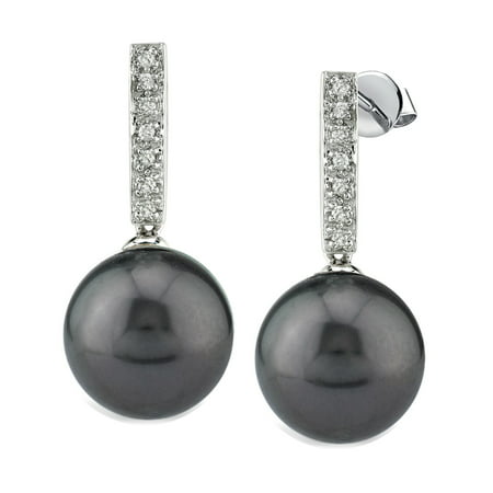 14K Gold Tahitian South Sea Cultured Pearl Dangling Diamond Earrings