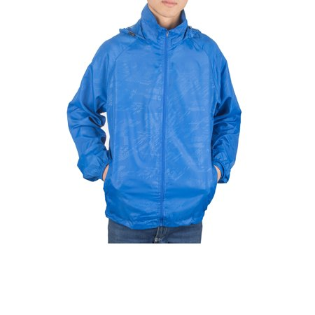 SAYFUT Men's Outdoor Lightweight Windbreaker  Packable Jacket Waterproof Rain Jacket Drawstring Hooded Zip-Up Sport Windbreaker Blue/Red/Black/Green
