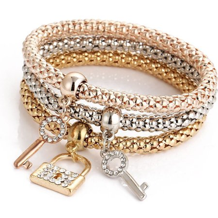 3pcs Charm Women Bracelet Gold Silver Rose Gold Rhinestone Bangle Jewelry Set - Gold Bangle