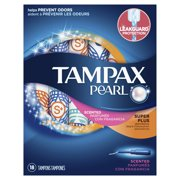 Tampax Pearl Super Plus Plastic Tampons, Scented, 18 Count