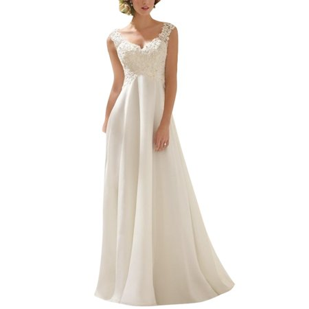 Lace Wedding Dress For Women Plus Size Sexy V-Neck Sweep Train Brides Dress Spaghetti Strap Sleeveless Evening Party Dress Wedding Party Prom Bridesmaid