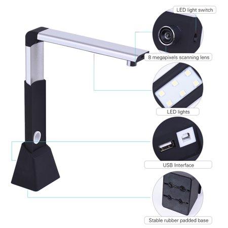Portable Adjustable High Speed USB Book Image Document Camera Scanner 8 Mega-pixel HD High-Definition Max. A3 Scanning Size ()