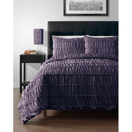 2pc Comforter set, Dark PURPLE Color Ruched Collection By Cozy Beddings - Halloween Comforter
