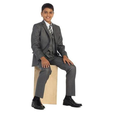 Boys Linen Gray Vest Pants Jacket Necktie White Shirt 5 Pcs Suit Set 8-18
