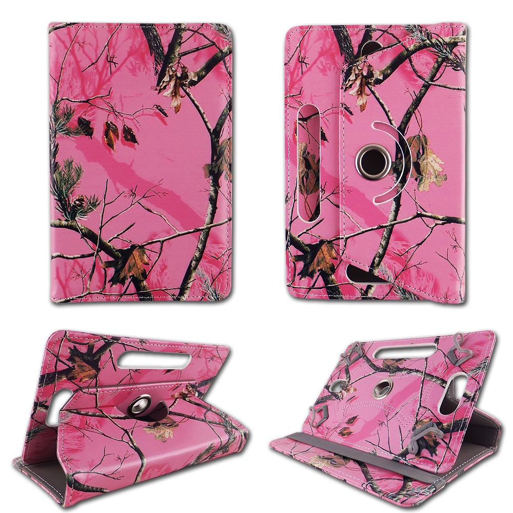 Camo pink Mozzy folio tablet Case for Barnes & Nobles 7 inch android tablet cases 7 inch Slim fit standing protective rotating universal PU leather standing cover