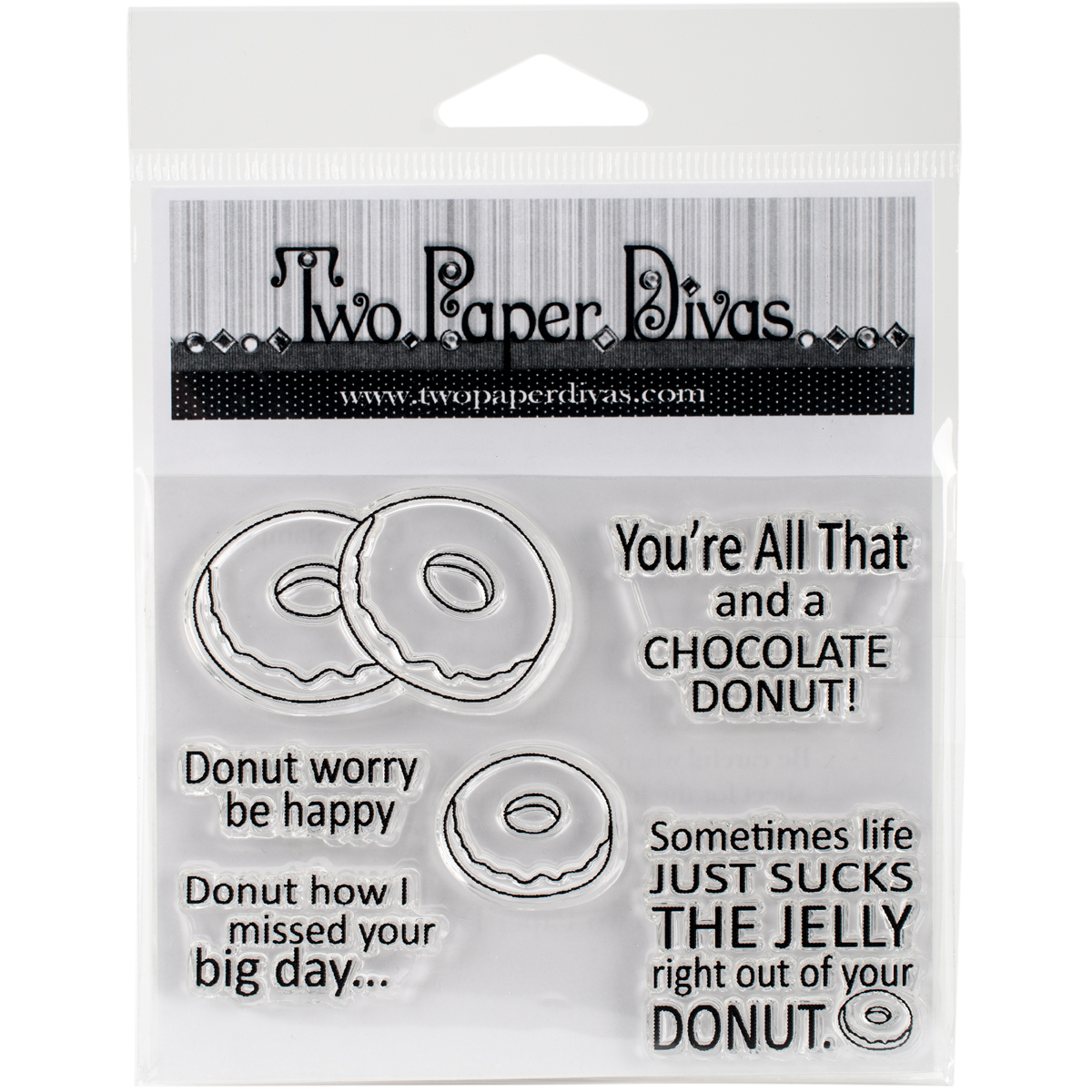 "Twp Paper Divas Clear Stamps 6""X4.5""-Just Donuts"