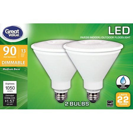 Great Value Gv Led 90w Equiv 22yr Wet Rated Par38