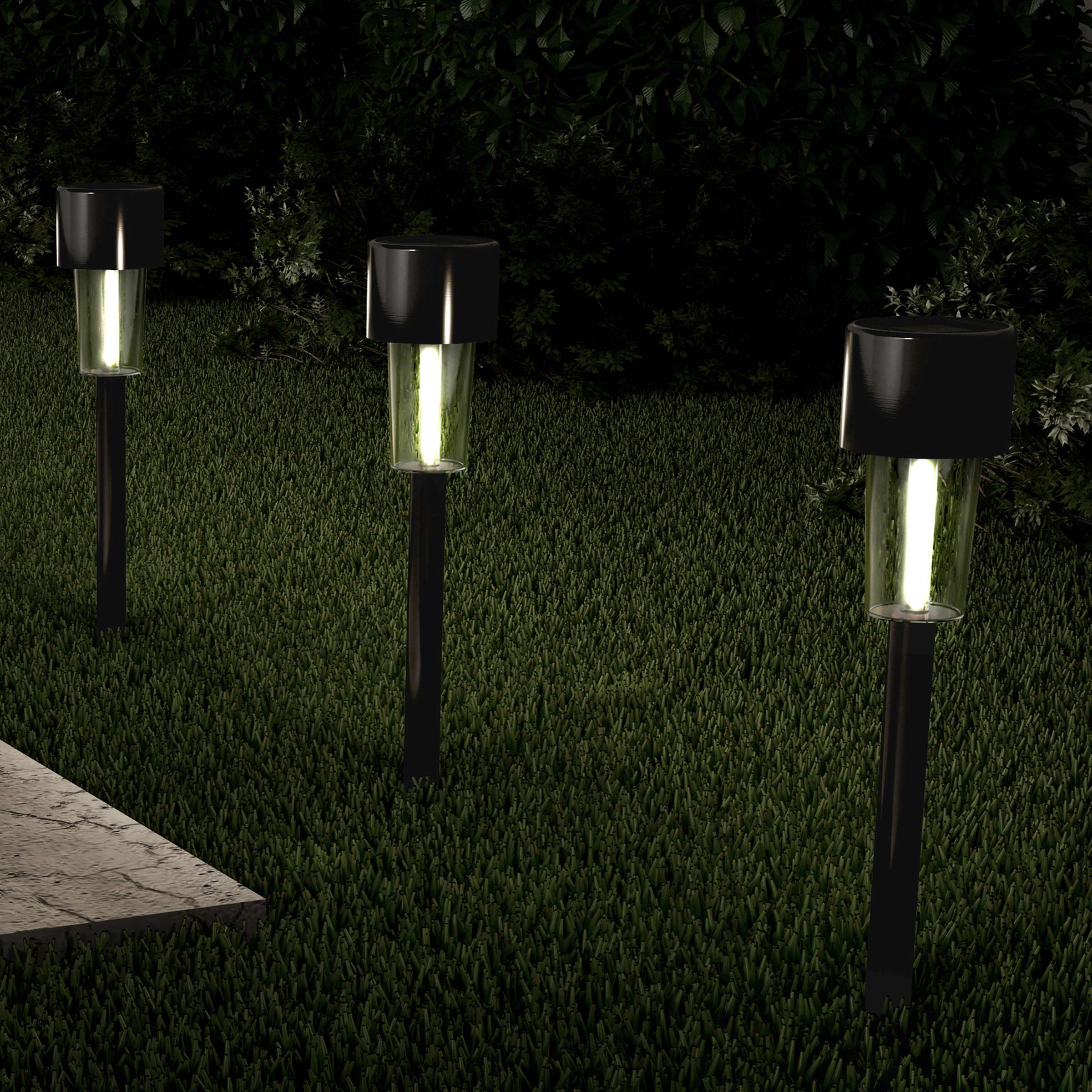 """Solar Path Lights- 12.2"""" Stainless Steel Outdoor Stake Lighting for Garden, Landscape, Patio, Driveway, Walkway- Set of 12 by Pure Garden (Black)"""