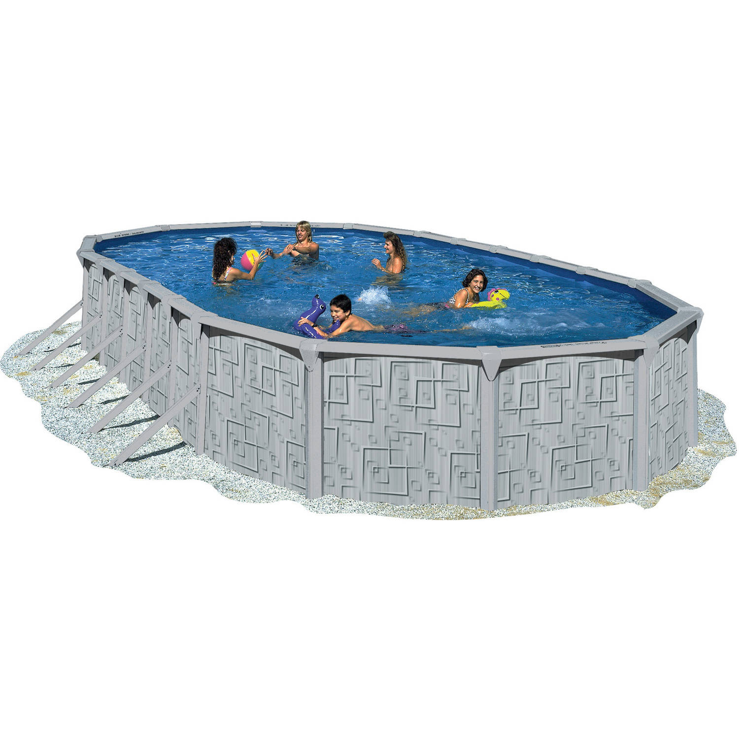 """Heritage 33' x 18' x 52"""" Illusion Steel Wall Above Ground Swimming Pool by Heritage"""