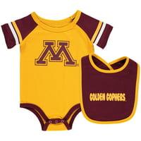 Minnesota Golden Gophers Colosseum Newborn & Infant Roll-Out Bodysuit & Bib Set - Gold/Maroon