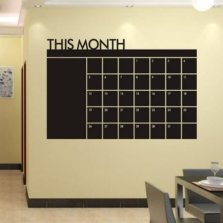 60x92 Month Plan Calendar Chalkboard MEMO Blackboard Vinyl Wall Sticker