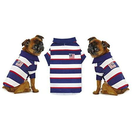 Patriotic Pooch SPF40 Polo Dog Shirt - Red White & Blue Stars & Stripes - Patriotic Dog