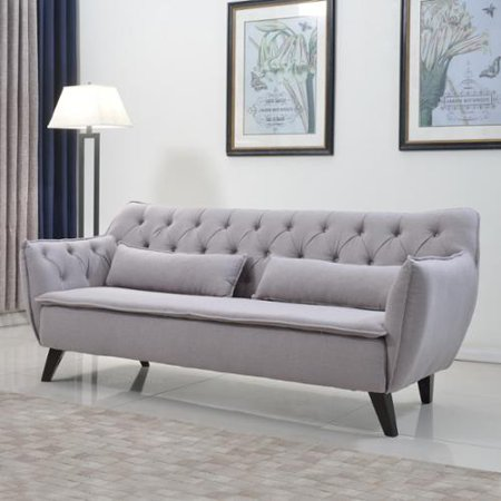 This button opens a dialog that displays additional images for this product  with the option to zoom in or out. Madison Home Mid Century Modern Tufted Linen Fabric Sofa Living