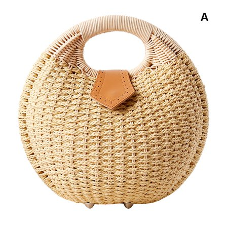 Fysho Lady's Stylish Shell Shape Straw Tote Handbag Rattan Beach