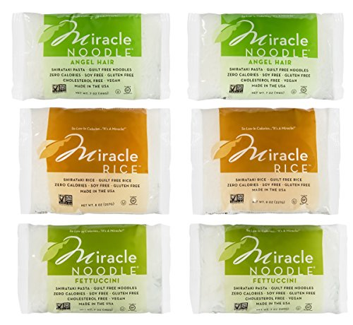 Miracle Noodle 6 Bag Variety Pack 42oz Includes 2 Shirataki Angel