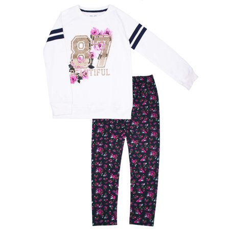 Varsity Glitter Graphic Fleece Top & Legging, 2-Piece Outfit Set (Little Girls & Big - Outfits From Grease