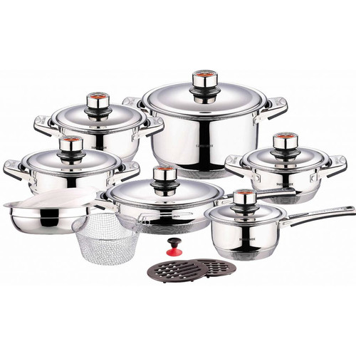 Concord Cookware Swiss Inox 18 Piece Stainless Steel Cookware Set