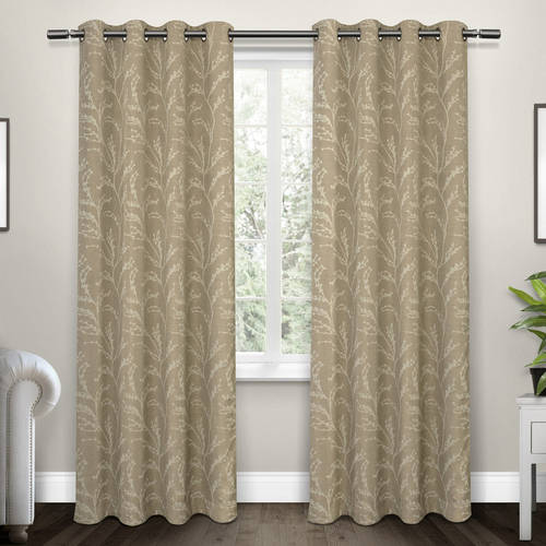 Kilberry Woven Blackout Grommet Top Window Curtain Panel Pair