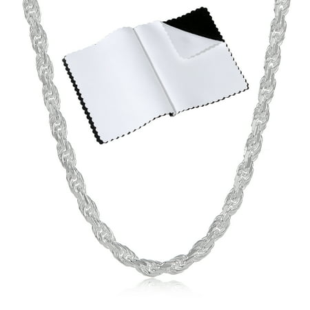 "925 Sterling Silver 1.8mm-7mm Italian Crafted Diamond-Cut Rope Chain 16""18""20""24""30"" + Bonus Cloth"