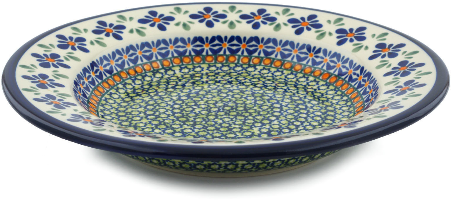Polish Pottery 9�-inch Pasta Bowl (Gingham Flowers Theme) Hand Painted in Boleslawiec, Poland + Certificate of... by Zaklady Ceramiczne
