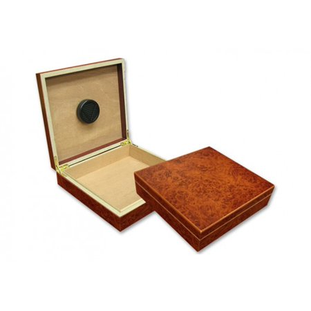Chateau Desktop Cigar Humidor - Burl Finish - Capacity: