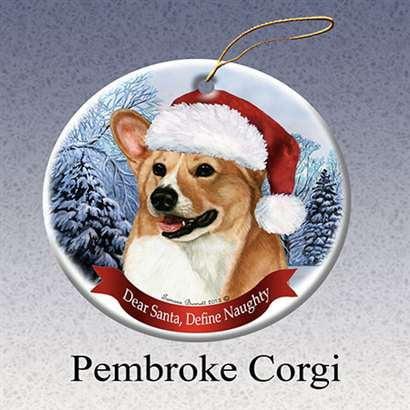 Dot Porcelain (Holiday Pet Gifts Corgi Santa Hat Dog Porcelain Christmas Tree Ornament )