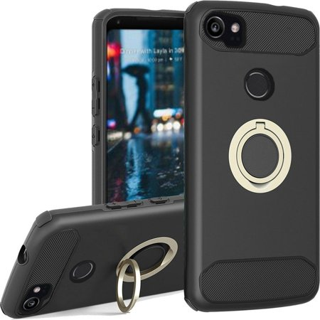 on sale 9f1eb c0158 Google Pixel 2 XL Case, by Insten Dual Layer [Shock Absorbing] Hybrid Ring  stand Hard Snap-in Case Cover For Google Pixel 2 XL, Black