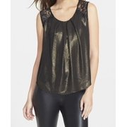 ASTR NEW Black Shimmer Gold Women's Size Small S LAce Inset Blouse