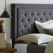 Rest Haven Upholstered Headboard with Diamond Tufting and Rectangle Bordered Edges, Queen, Charcoal