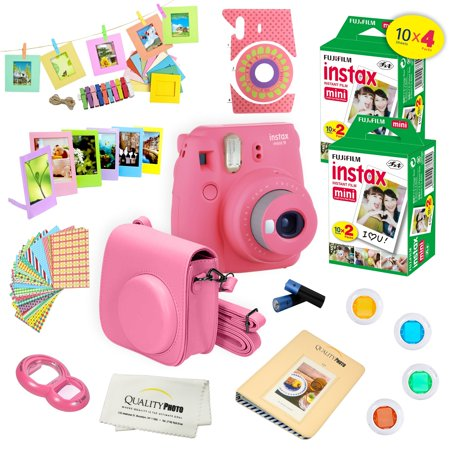 Fujifilm Instax Mini 9 Camera Pink + 15 PC Accessory Kit for Fujifilm instax mini 9 Instant Camera Includes: 40 Fuji Instax Films + Case + Album + Colored lenses + Assorted color/Style frames + MORE - Polaroid Frame Prop