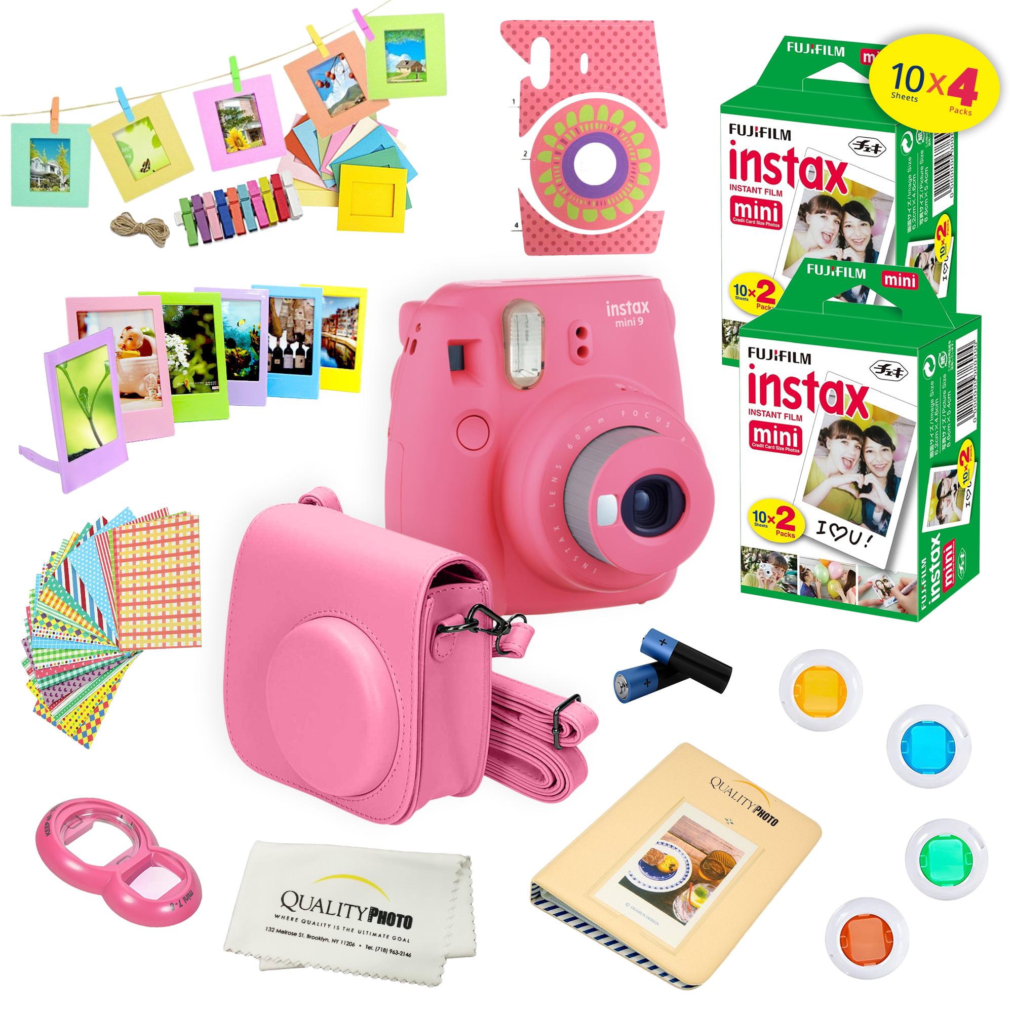 Fujifilm Instax Mini 9 Camera Pink + 15 PC Accessory Kit for Fujifilm instax mini 9 Instant Camera Includes: 40 Fuji Instax Films + Case + Album + Colored lenses + Assorted color/Style frames + MORE