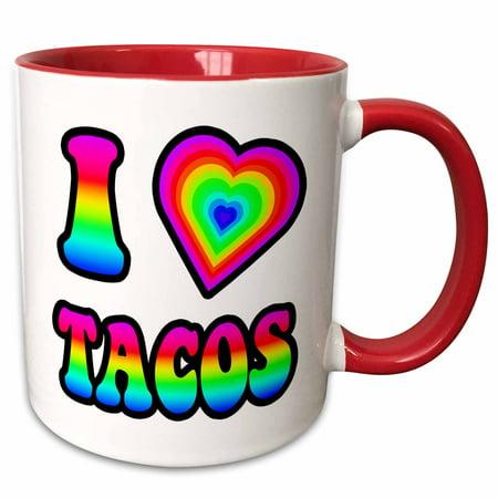 3dRose Groovy Hippie Rainbow I Heart Love Tacos - Two Tone Red Mug, 11-ounce