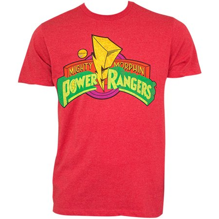Power Rangers Mighty Morphin Classic Logo Design Short Sleeve T-Shirt