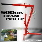 "XtremepowerUS 500Lb Pickup Truck Hydraulic Pwc Dock Jib Engine Hoist Crane Hitch Mount Lift 2"" Hitch Mount, Red"