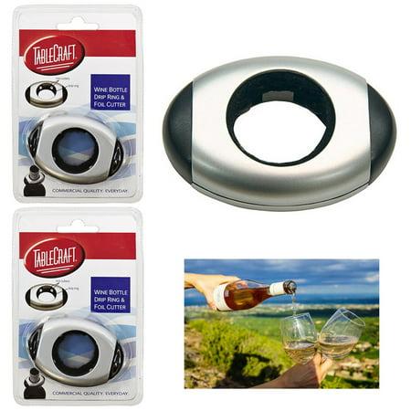 - 2pc Wine Bottle Collar Drip Ring Cap Drop Proof Foil Cutter Home Bar Accessories